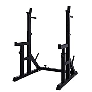 Ywindl Squat Rack Stands Adjustable Barbell Rack Multifunction Dipping Station Heavy Duty Solid Steel Barbell Free-Press Bench Home Gym Portable Dumbbell Racks