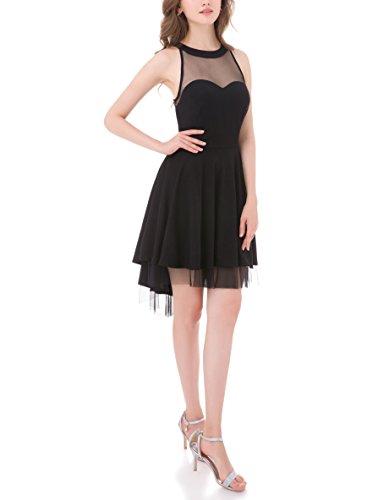 Dress Women Mini Open Back Cocktail s Sheer BeryLove Halter Black Tulle ZxOqwS