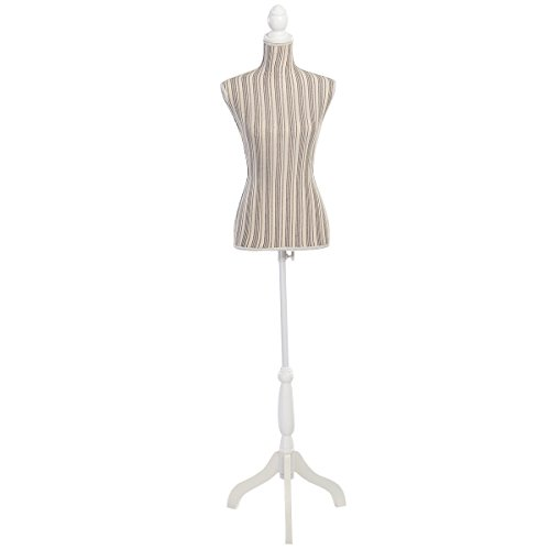 Height Adjustable Female Mannequin Torso Clothes Display w/ Tripod Stand Brown by FDInspiration