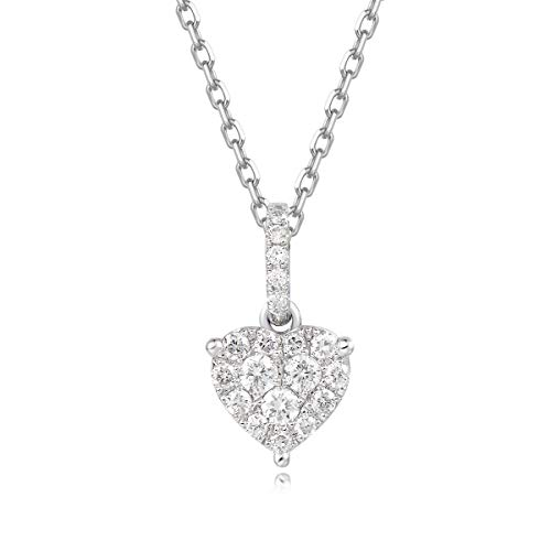 Carleen 18k Solid White Gold Heart Diamond Pendant Necklace for Women Girls (0.17cttw, I-J Color, SI Clarity), 16