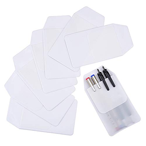 Sansheng 8 PCS pocket protector, transparent PVC heavy pocket protector, white pocket pen leak protector, school hospital office supplies (white) ()