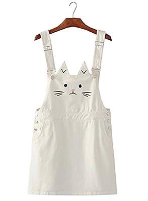 Futurino Women's Cute Cat Embroidery Adjustable Suspender Overall Mini Dress