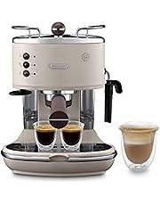 De'Longhi Icona Vintage Espresso Siebträgermaschine ECOV311.BG - mit professioneller Milchaufschäumdüse, 15 bar, 1,4 l, auch für Pads geeignet, Edelstahl in Retro Look mit Chrom-Details, beige
