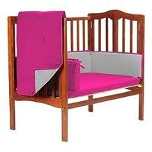 BabyDoll Bedding Solid Reversible Port-A-Crib Set, Hot Pink/Grey