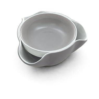 Joseph Joseph DDWGR010GB Double Dish Serving Bowl Pistachio Pedestal Snack Dish Olive Nut Server Melamine Dishwasher Safe, Gray