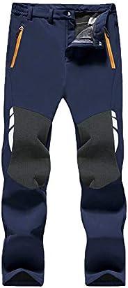 MAGCOMSEN Men's Snow Ski Pants Fleece Lined Winter Pants with 4 Zipper Pockets Reinforced Knee Hiking P