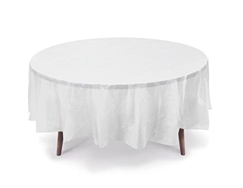 "5 PACK, 84"" White Round Plastic Table Cover, Plastic Table Cloth Reusable (PEVA) (White)"