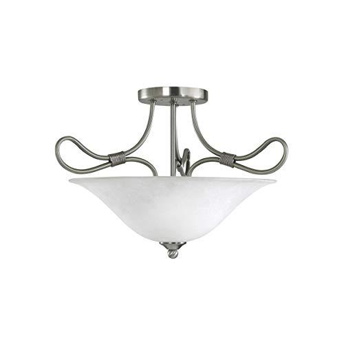 "Semi Flush 2 Light Fixtures with Antique Pewter Finish Medium Bulb Type 16"" 200 Watts"