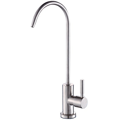 ESOW Kitchen Drinking Water Faucet, Lead-Free Beverage Faucet Filtration System Purifier Filter Faucet, Stainless Steel Body Brushed Finish, 1/4-Inch Tube