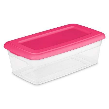ONE Sterilite 6 Quart Storage Bin Shoe Box - Clear and Pink