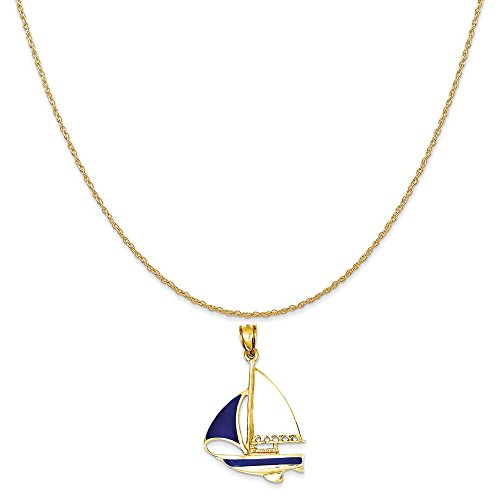 Mireval 14k Yellow Gold 2-D Blue and White Enameled Sailboat Pendant on 14K Yellow Gold Rope Necklace, 18