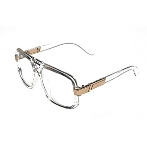VW Eyewear - Classic Square Frame Plastic Flat Top Aviator Glasses /w Metal Trimming and Clear Lens (Clear gold)