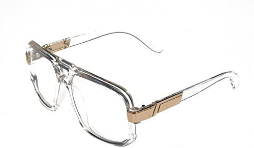 V.W.E. - Classic Square Frame Plastic Flat Top Aviator Glasses /w Metal Trimming and Clear Lens