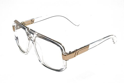 VW Eyewear - Classic Square Frame Plastic Flat Top Aviator Glasses /w Metal Trimming and Clear Lens