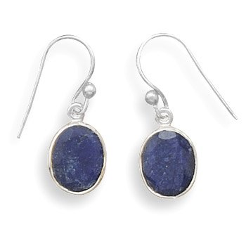 - Oval Faceted Rough-Cut Simulated Sapphire Earrings Silvertone