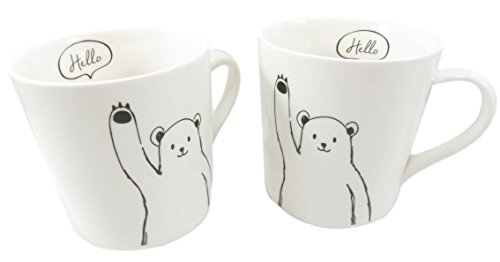 Cute Bear Cup Mug Hello My Old Friends 9 fl oz Porcelain (Set of 2)