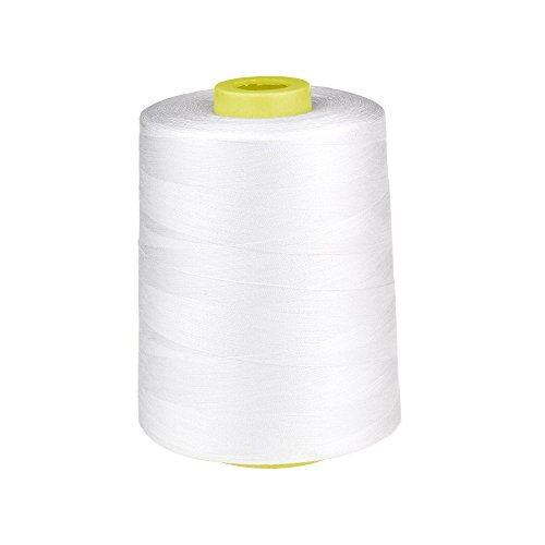 (8700yd) 402 polyester sewing thread large roll for high speed sewing machine (White) (High Speed Overlock Machine)