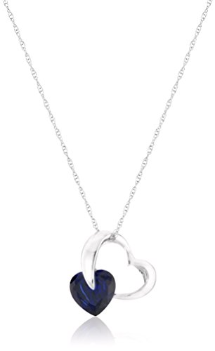 10k White Gold Created Blue Sapphire and Diamond Accent Heart Pendant Necklace, (Blue Sapphire Accents)