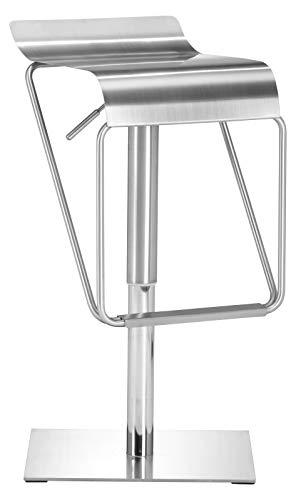 - Zuo Modern Dazzer Barstool in Brushed Stainless Steel and Brushed Stainless Steel