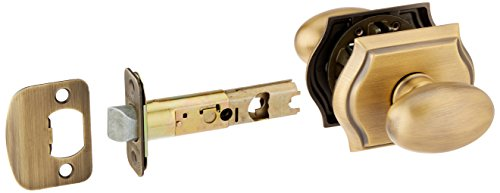 Baldwin PSELLTAR049 Reserve Passage Ellipse with Traditional Arch Rose in Matte Brass & Black Finish Baldwin Brass Rose Passage