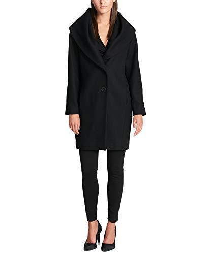 DKNY Women's Shawl-Collar Walker Coat Black XL (Dkny Cotton Coat)