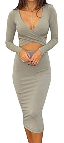 XQS Womens V Neck Long-sleeved Sexy Bandage Nightclub Dress