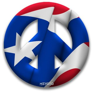 Peace Symbol Magnet of Puerto Rico Flag by MEYOTO LLC - Puerto Rico Kitchen