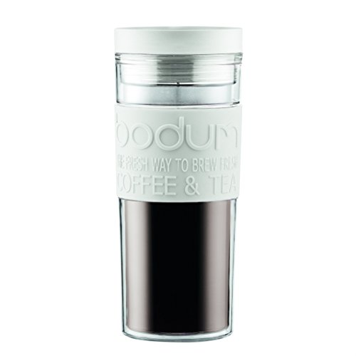 Bodum Travel Press (Bodum Acrylic Travel Mug with Radial Lid, 0.45 L/15 oz, White)