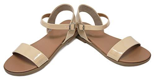 MVE Shoes Women's Stylish Simple Single Strap Adjustable Ankle Buckle Open Toe Flat Sandal, Meadow Beige PAT 9