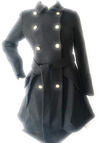 DKNY Double-Breasted Wool-Blend Belted Fit & Flare Peacoat Black 2P