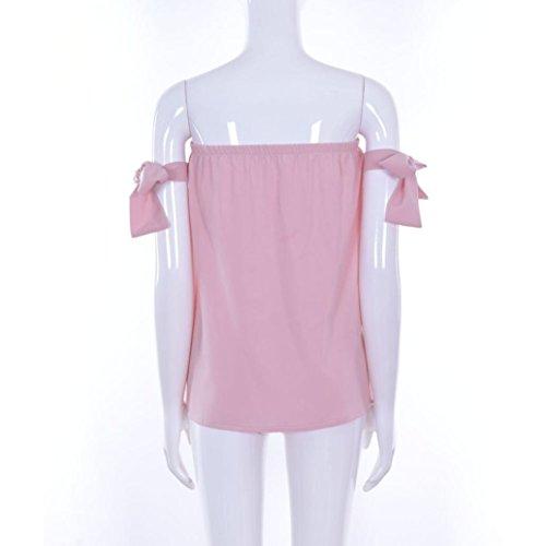 Winwintom Las mujeres del verano de la manera puras de las tapas de la camiseta del hombro sueltan la blusa sin mangas Chiffon Slash-cuello de la camisa Rosado