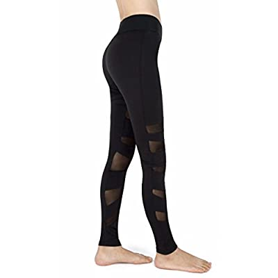 iEFiEL Womens Mesh Panel Yoga Running Leggings Gym Workout Tights