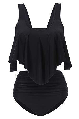 Aranmei Womens Swimsuit Two Piece Bathing Suit Ruffled Flounce Crop Top with High Waisted Ruched Bottom Bikini Set...