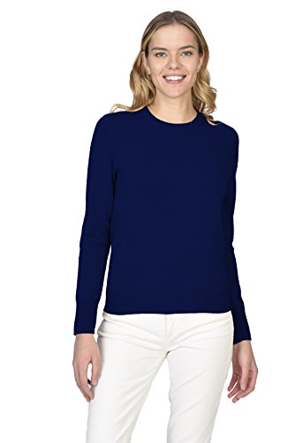 State Cashmere Women's 100% Pure Cashmere Long Sleeve Pullover Crew Neck Sweater, Navy, Large (Pure Sweater Cashmere)