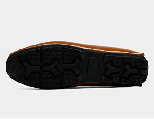 Zapatos Clásicos de Piel para Hombre Zapatos de cuero de los hombres de primavera Zapatos de guisantes Zapatos de marea perezosos Zapatos ocasionales respirables de estilo británico ( Color : Blanco , Marrón