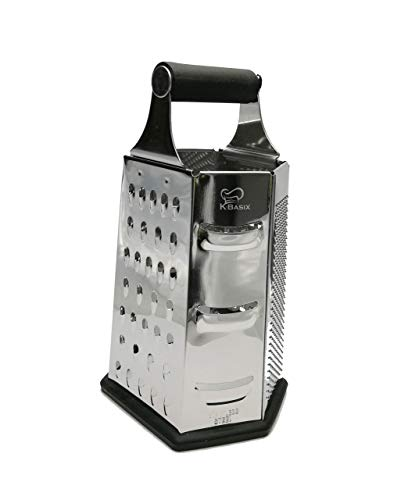 K BASIX Cheese Grater & Shredder - Stainless Steel - 6 Sided Box Grater - Large Grating Surface with Razor Sharp Blades - Perfect to Slice, Grate, Shred & Zest Fruits, Vegetables, Cheeses & More!