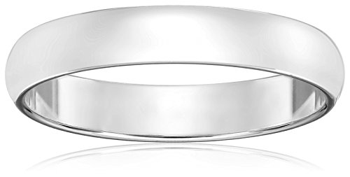 Classic Fit 10K White Gold Band, 4mm, Size 11.5