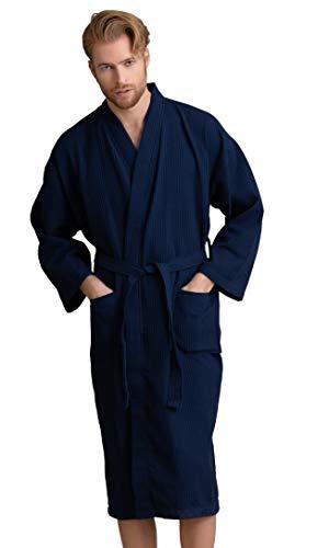 Men's Robe, Long Waffle Spa Bathrobe, Square Pattern (Large, Navy) ()