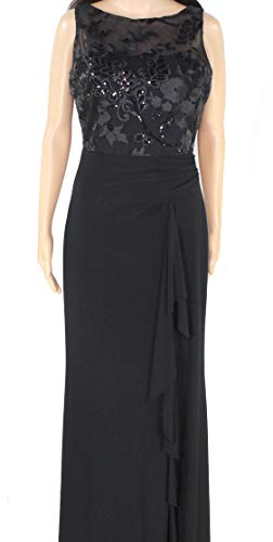 LAUREN RALPH LAUREN Womens Evening Sequined Evening Dress Black 4
