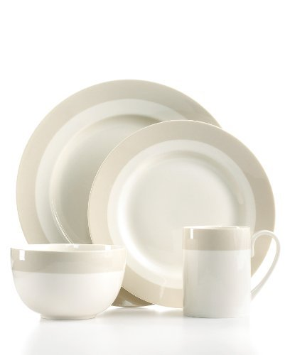 Martha Stewart Collection Dinnerware, Classic Band Grey 4 Piece Place Setting