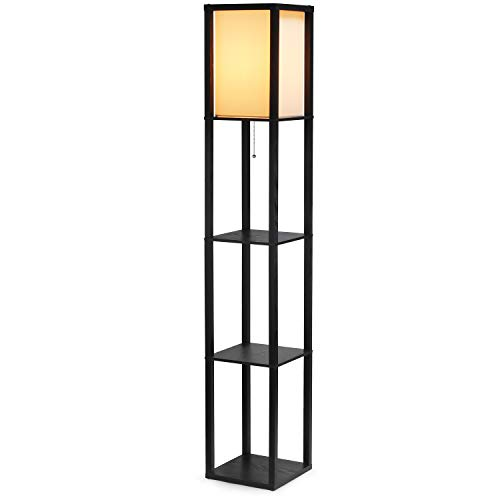 SHINE HAI Shelf Floor Lamp for Living Rooms,Bedrooms, Modern Standing Light with Asian Wood Frame Design, Open Box Display Shelves - Black