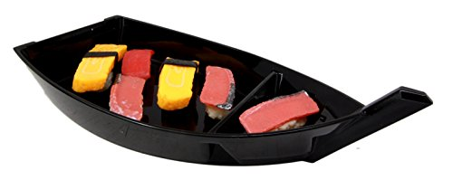 Atlantic Collectibles Japanese Traditional Black Plastic Lacquer Sushi Fishing Boat Serving Plate For Sushi Sashimi Kitchen Home Dining Decorative Dinnerware Party Hosting Display Boat