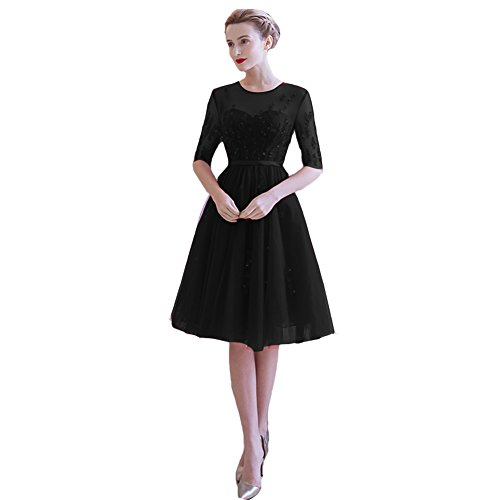 Lemai Vintage Sheer Half Sleeves Tulle Knee Length Short Prom Corset Cocktail Dresses Black US18W by Lemai