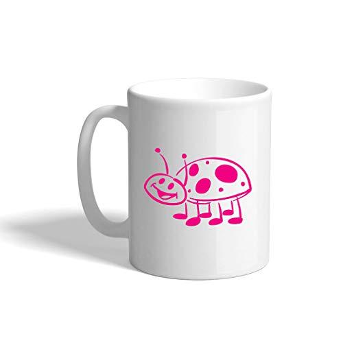 - Hot Pink Ladybug Ceramic Coffee Cup White Mug