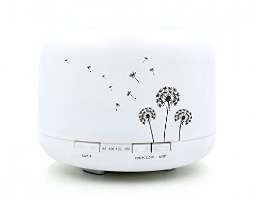 Sexy Diary Flower Pattern Essential Oil Aroma Diffuser Warm Night Light Ultrasonic Cool Mist Humidifier with 4 Timer Settings and Waterless Auto Shut-off for Office Home Bedroom Yoga 500ml