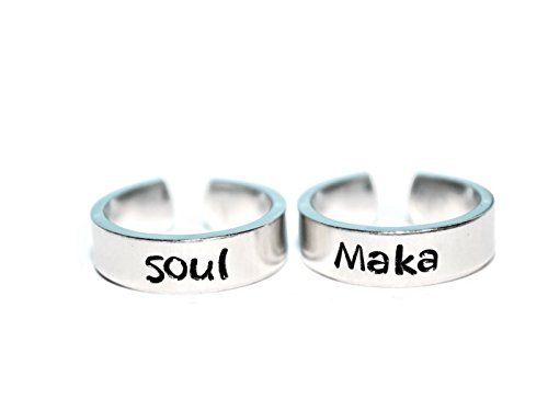 Soul and Maka adjustable aluminum metal stamped ring pair