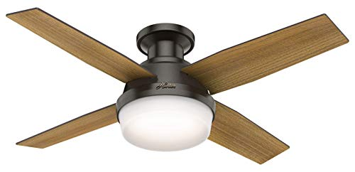 Dempsey Low Profile Noble Bronze Ceiling Fan With Light Remote, 44 Inch