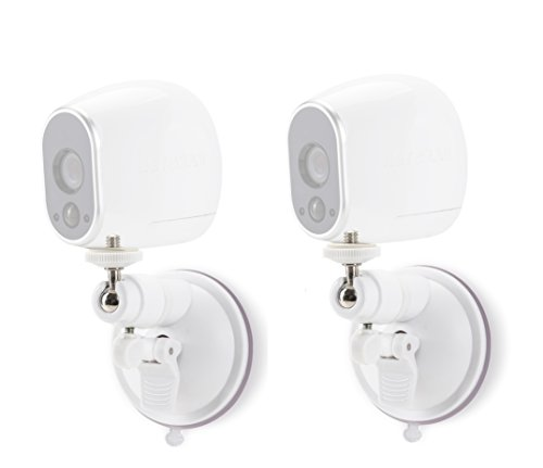 Smart Security Suction Cup Wall Mount- Adjustable Indoor/Outdoor Suction Cup Mount Compatible With Arlo Cam and Other Compatible Models - by Wasserstein (2 Pack, White) ()