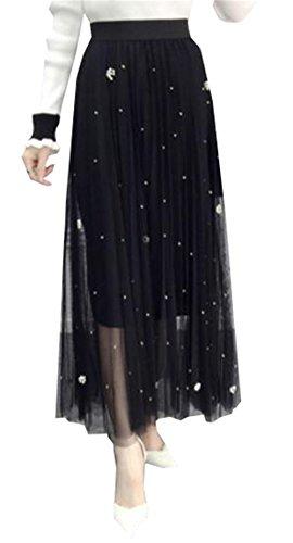 Aoliait Femme Jupe Longue ElGant Tulle Jupe Tendance Jupe Plisse Slim Fit Jupe A-Line Beau Femelle Skirt Swing Glamour Jupe Black