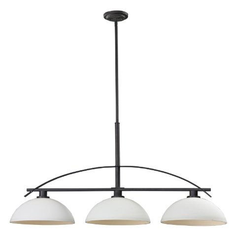 606 Matte - Z-Lite 606-3 Ellipse Three Light Island/Billiard Light, Steel Frame, Bronze Finish and Matte Opal Shade of Glass Material